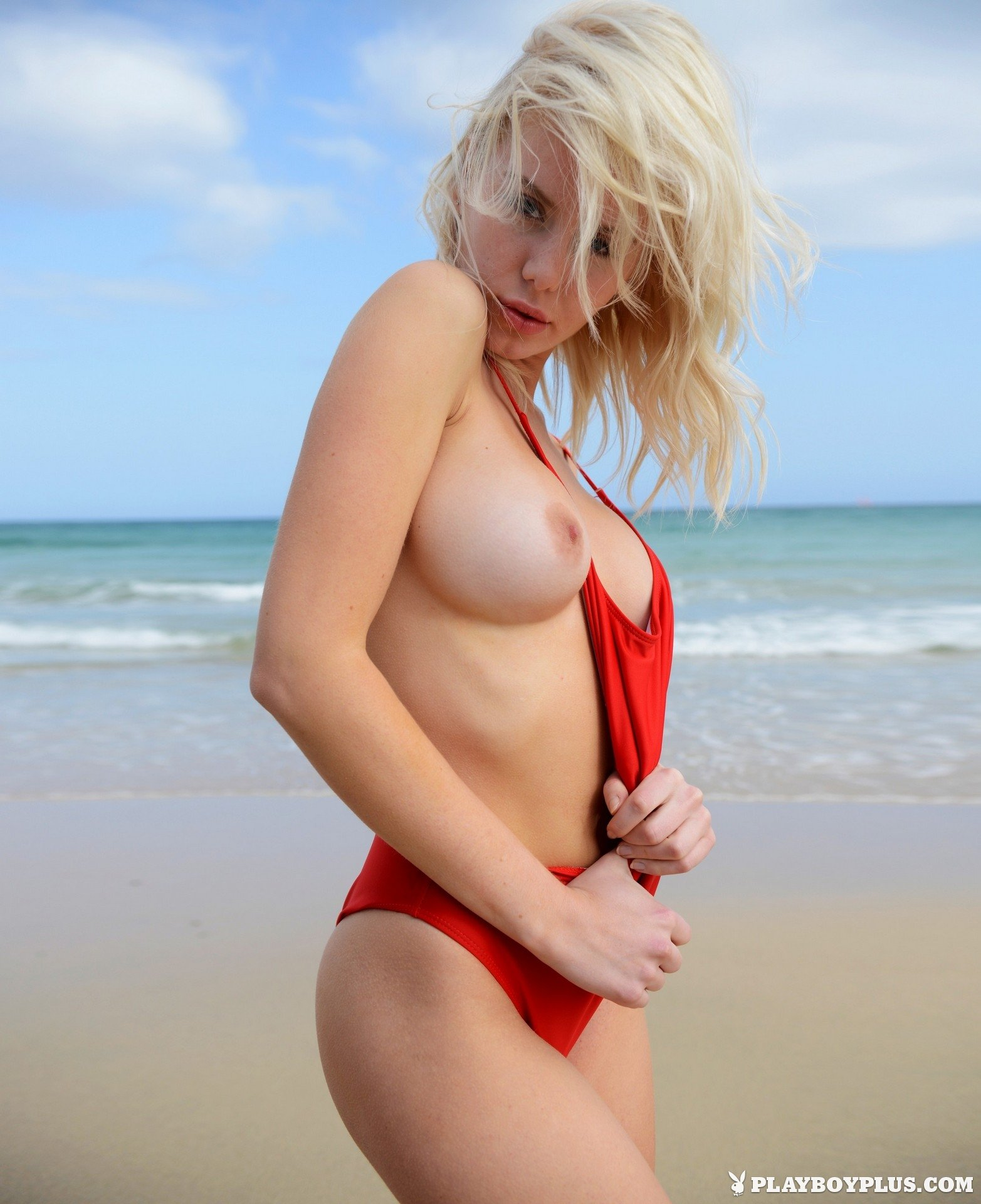Beautiful blonde Isabella Schulz exposes her full breats.
