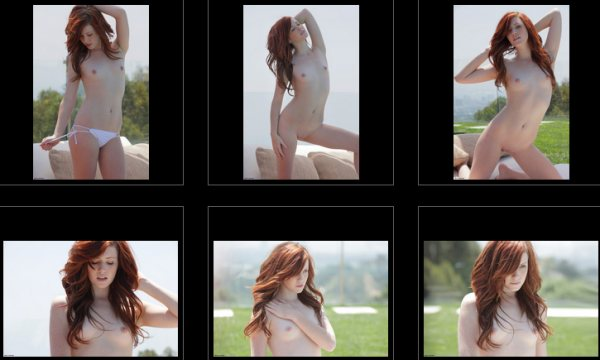 This is a six photo collage of freckle faced Elle who long red hair and is standing both in panties and completely nude showing her small beasts and hairless pussy.