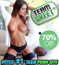 Topless brunette in garters: Team Skeet 70% Off.