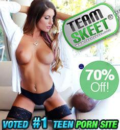 Topless brunette in garters: Team Skeet 70% Off.