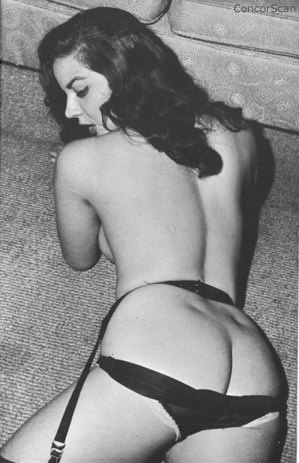 1940s anal - Beautiful 1940's brunette wearing garters with her panties pulled down  photographed from rear
