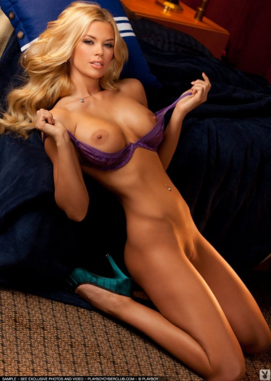 Full Frontal Nude Jessa Hinton Playboy Miss July 2011 on  her knees