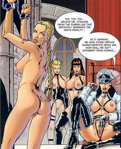 Cartoon of a nude blonde chained by lesbians.