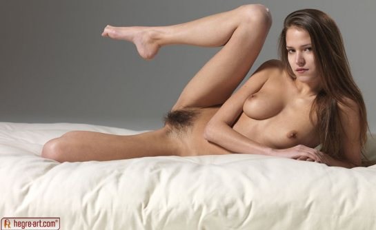 A totally nude auburn haired beauty with thick pubic hair is laying sideways with a leg in the air.