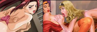 These are two full color cartoons of nude women with their breasts being fondled.