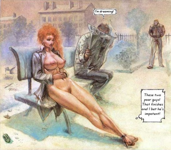 In this comic's panel a sexy red head is sitting on a park bench naked as two men talk about her.