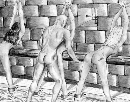 In this black and white cartoon three woman are restrained and bent over as a man is fucking the woman in the middle.