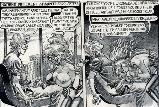In this black and white comic a big breasted woman holds a man's big dick and sucks it.