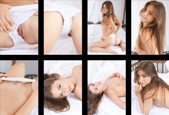 Pretty nude model Guerlain is seen in a collage of eight photos,