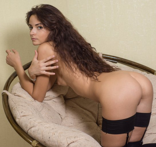 A nude brunette is wearing stockings and garters.
