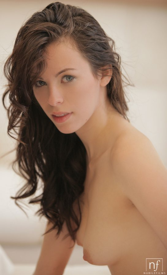 Pretty Veronica Radke shows her tender young breasts.