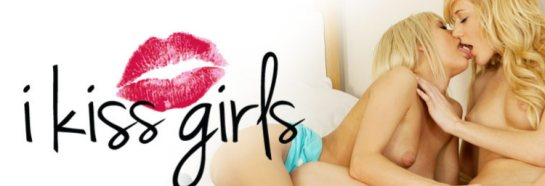 Two young woemn are kissing in the I Kiss Girls website banner.