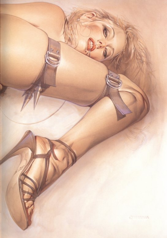 This is a photo realistic color drawing of a blonde woman wearing spiked leather straps.