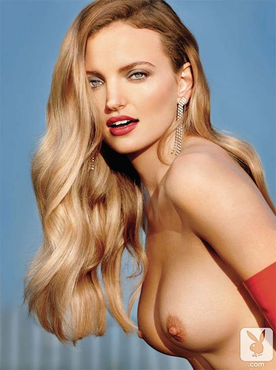 Amanda Booth February 2014 Playmate is a topless blonde.