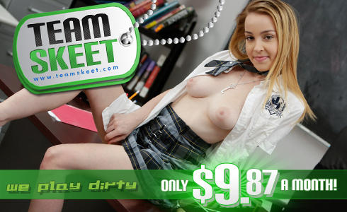 Team Skeet banner ad of a young blonde with her blouse open exposing her breasts.