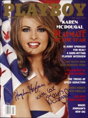 Karen McDougal 1998 Playmate of the Year cover signed by her: Hugh Hefner with love Karen McDougal