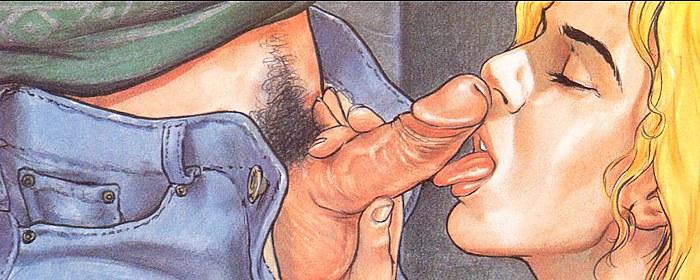Cartoon Blonde is licking penis.