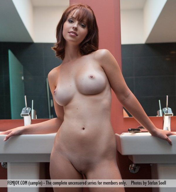 Totally nude Hayden Winters has big breasts.