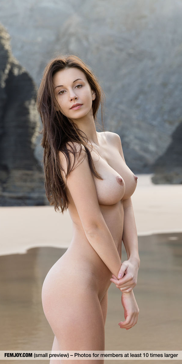 Pretty nude big breasted brunette Alisa is standing lakeside.