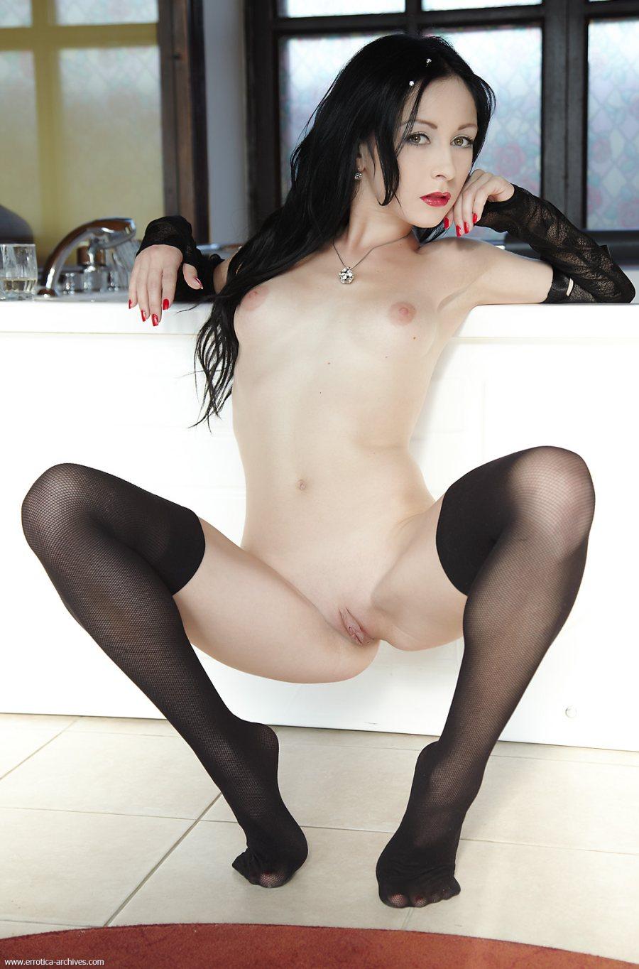 nude girls in black stockings
